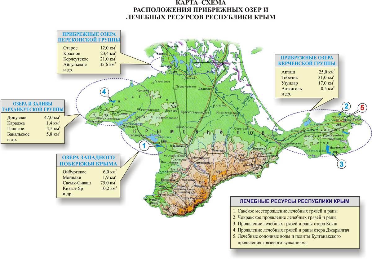 Карта-схема прибрежных озер